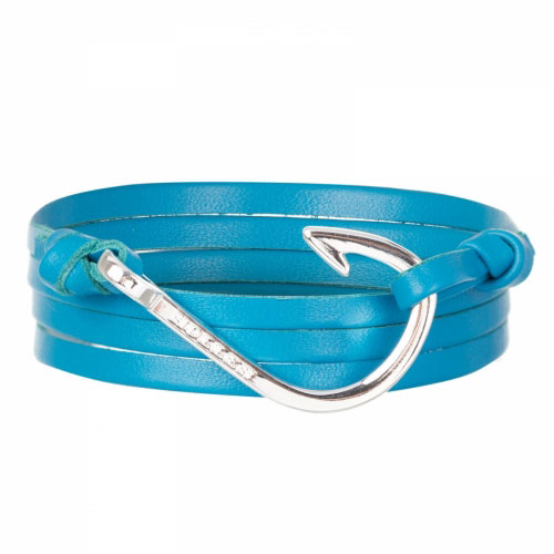 Holler Kirby  Silver Polished Hook / Light Blue Leather Bracelet
