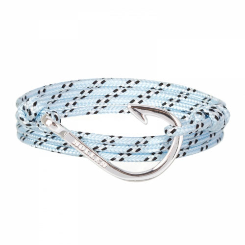 Holler Kirby  Silver Polished Hook / Light Blue, Black and White Paracord Bracelet