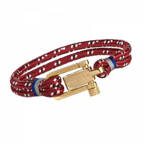 Holler Mancha  Gold Polished U-Buckle / Red, White and Black Paracord Bracelet