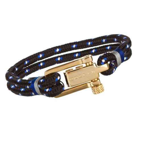 Holler Mancha  Gold Polished U-Buckle / Black, Blue and White Paracord Bracelet