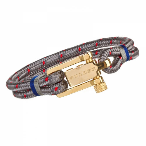 Holler Mancha  Gold Polished U-Buckle / Burlap and Red Paracord Bracelet