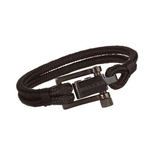Holler Mancha  Black Polished U-Buckle / Black Paracord Bracelet