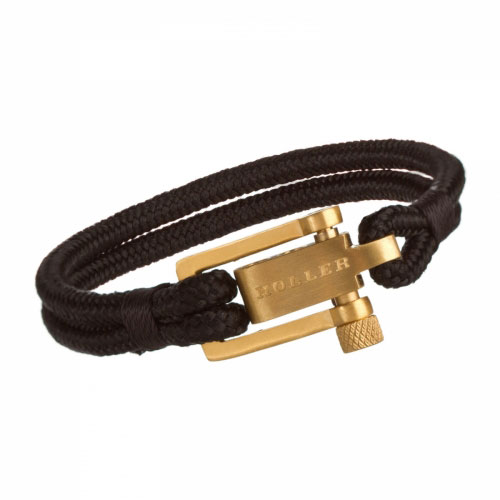 Holler Mancha  Gold Brushed U-Buckle / Black Paracord Bracelet