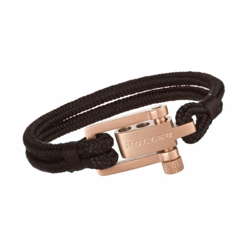 Holler Mancha  Rose Gold Sandblasted U-Buckle / Black Paracord Bracelet