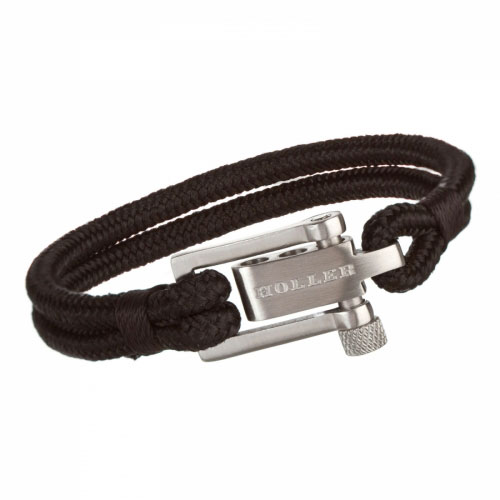 Holler Mancha  Silver Brushed U-Buckle / Black Paracord Bracelet