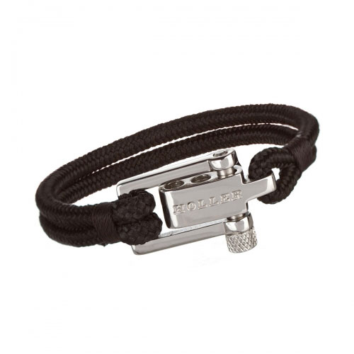 Mancha  Silver Polished U-Buckle / Black Paracord Bracelet