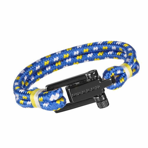 HOLLER Holler Mancha  Black Polished U-Buckle / Blue, White and Yellow Paracord Bracelet