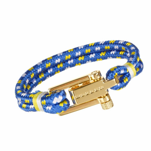 Mancha  Gold Polished U-Buckle / Blue, White and Yellow Paracord Bracelet