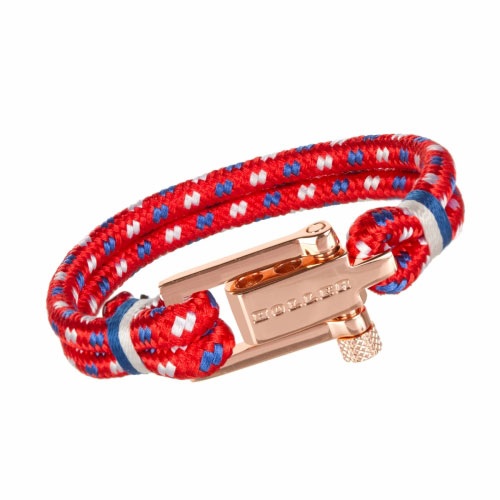 Mancha  Rose Gold Polished U-Buckle / Red Paracord Bracelet