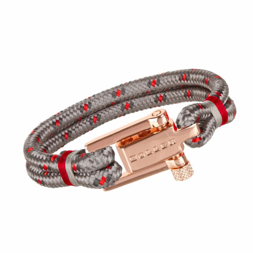 Holler Mancha  Rose Gold Polished U-Buckle / Burlap Paracord Bracelet