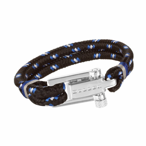Holler Mancha  Silver Polished U-Buckle / Black and White Paracord Bracelet