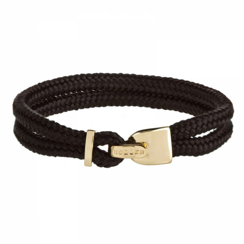 Holler Lasky  Gold Polished Lock / Black Paracord Bracelet