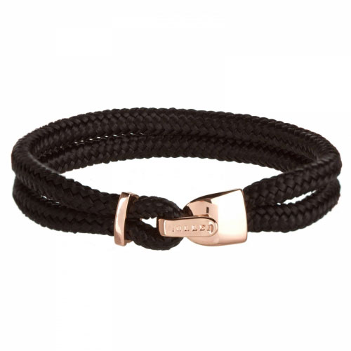 Holler Lasky  Rose Gold Polished Lock / Black Paracord Bracelet