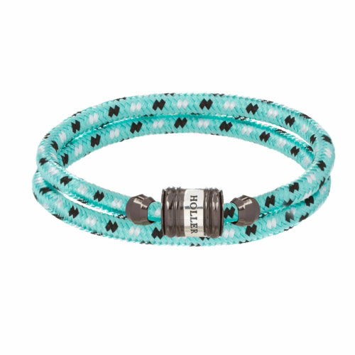 Bailey Black Polished Barrel / Mint Green Paracord Bracelet