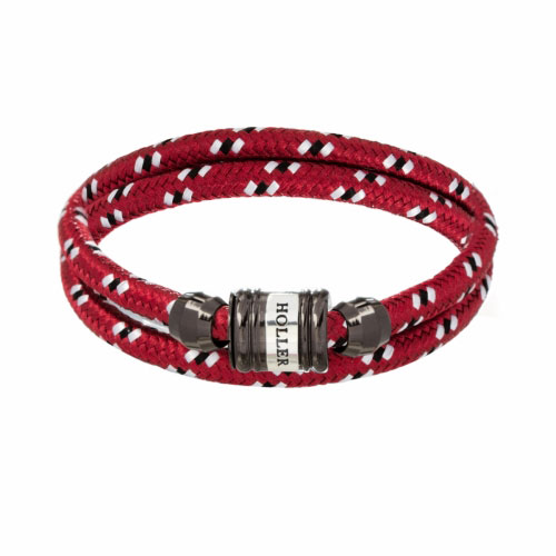 Holler Bailey Black Polished Barrel / Dark Red Paracord Bracelet