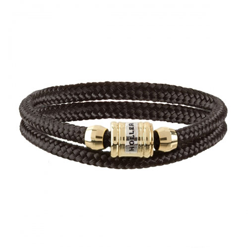 Bailey Gold Polished Barrel / Black Paracord Bracelet