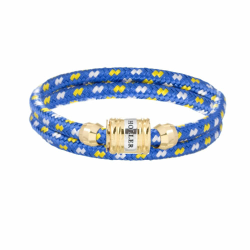 Bailey Gold Polished Barrel / Blue, White and Yellow Paracord Bracelet