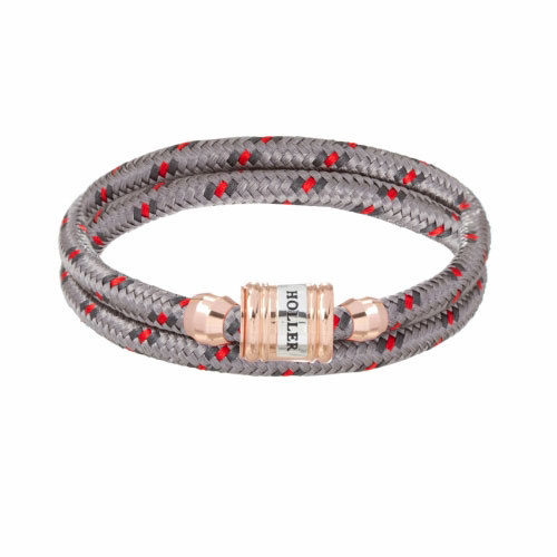 Holler Bailey Rose Gold Polished Barrel / Burlap Paracord Bracelet