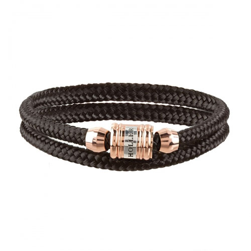 Bailey Rose Gold Polished Barrel / Black Paracord Bracelet