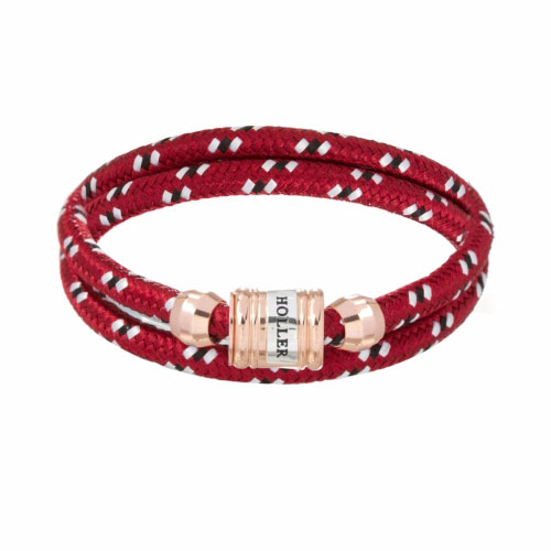 HOLLER Holler Bailey Rose Gold Polished Barrel / Dark Red Paracord Bracelet