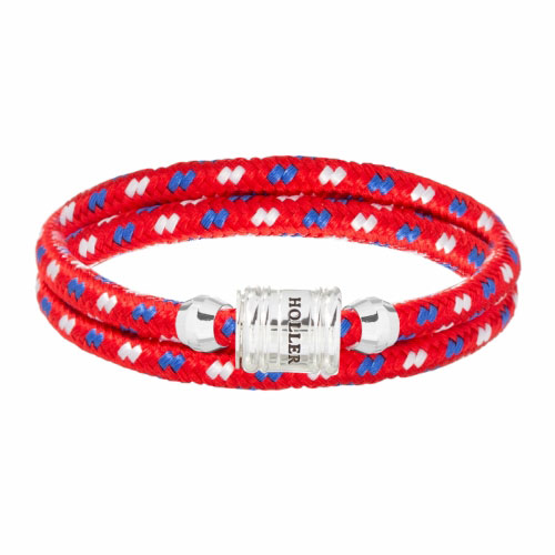 Bailey Silver Polished Barrel / Red Paracord Bracelet