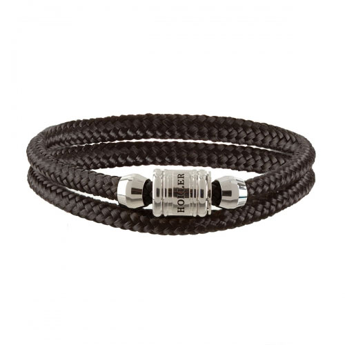 Bailey Silver Polished Barrel / Black Paracord Bracelet