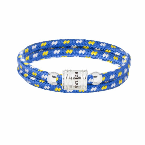Bailey Silver Polished Barrel / Blue, White and Yellow Paracord Bracelet