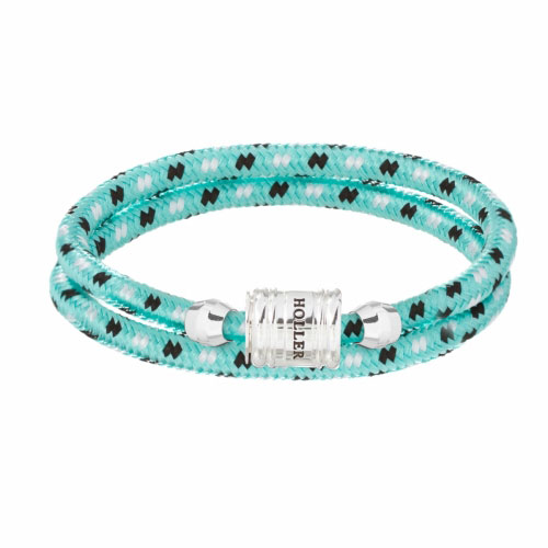 Bailey Silver Polished Barrel / Mint Green Paracord Bracelet