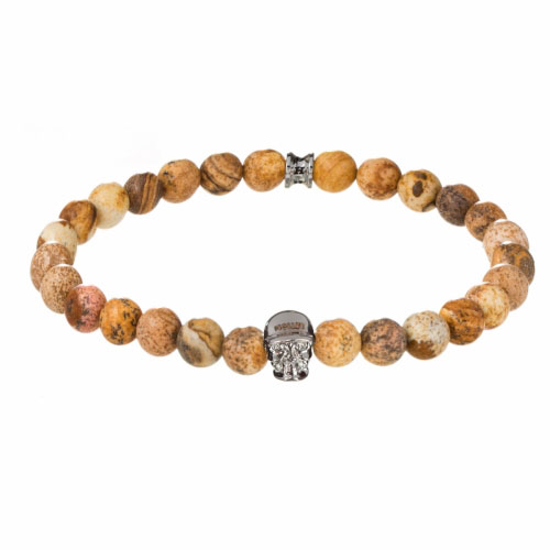 Holler Jefferson 8mm Beige Jasper Stone Bracelet