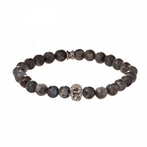 Jefferson 8mm Grey Natural Black Larvikite Stone Bracelet