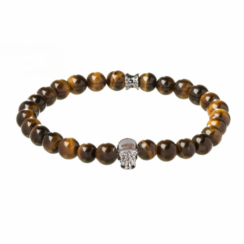 Holler Jefferson 8mm Orange Tiger Eye Stone Bracelet