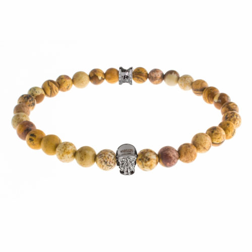 Holler Jefferson 6mm Beige Jasper Stone Bracelet