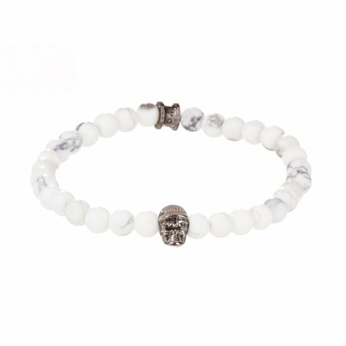 Holler Jefferson 6mm Howlite Stone Bracelet