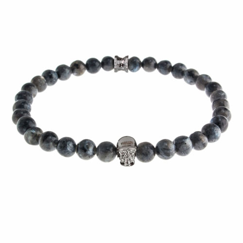 Holler Jefferson 6mm Grey Natural Black Larvikite Stone Bracelet