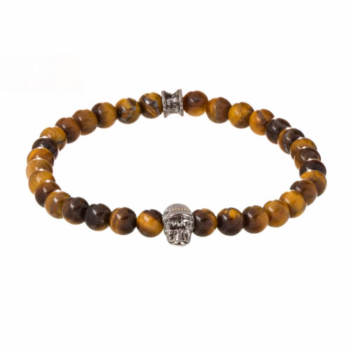 Jefferson 6mm Orange Tiger Eye Stone Bracelet