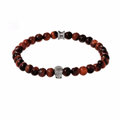 Holler Jefferson 6mm Red Tiger Eye Stone Bracelet