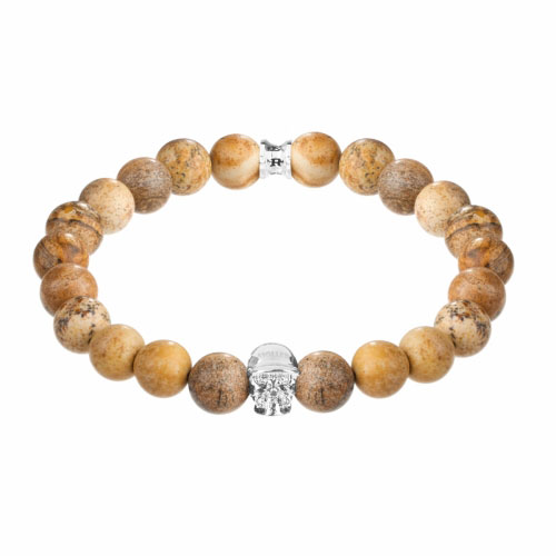 Holler Jefferson Silver Polished Skull / 10mm Beige Jasper Natural Stone Bracelet