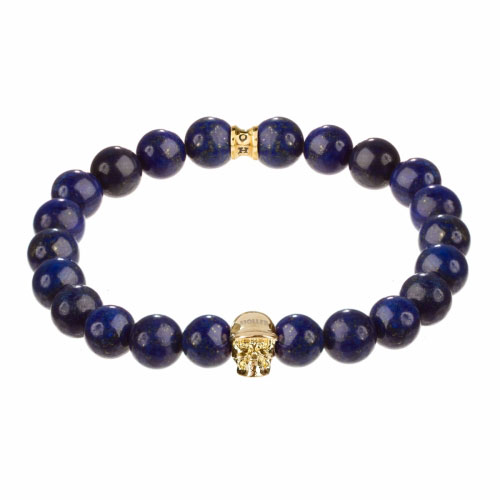 Holler Jefferson Gold Polished Skull / 10mm Blue Gold Dumortierite Natural Stone Bracelet