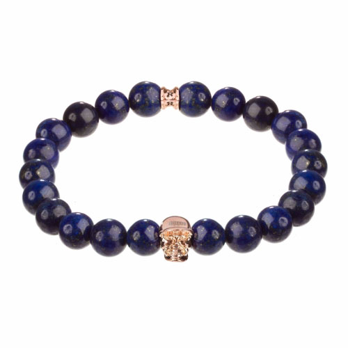 Holler Jefferson Rose Gold Polished Skull / 10mm Blue Gold Dumortierite Natural Stone Bracelet