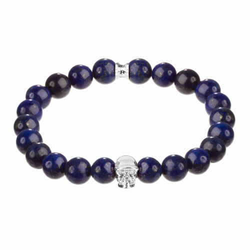 Holler Jefferson Silver Polished Skull / 10mm Blue Gold Dumortierite Natural Stone Bracelet