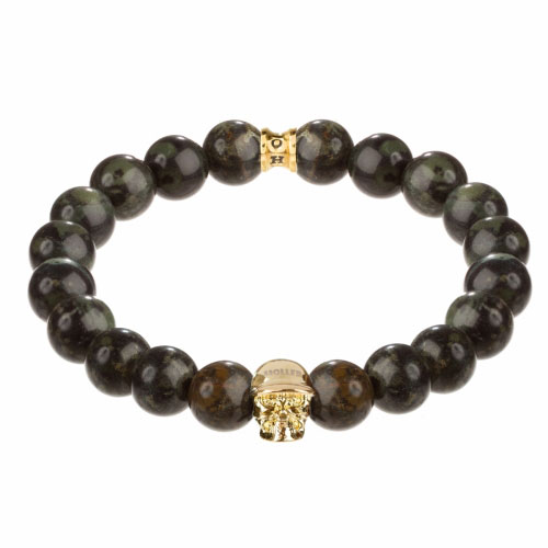Jefferson Gold Polished Skull / 10mm Green Kambaba Natural Stone Bracelet