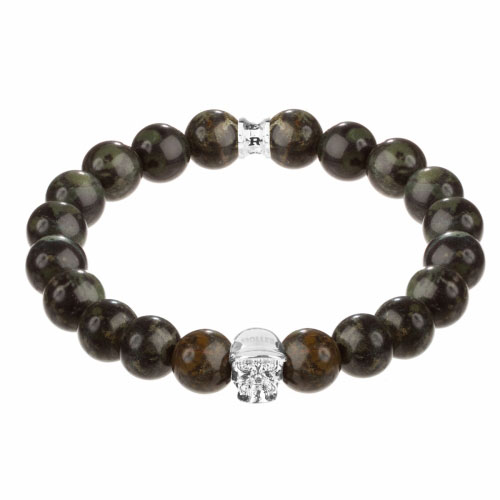 Jefferson Silver Polished Skull / 10mm Green Kambaba Natural Stone Bracelet
