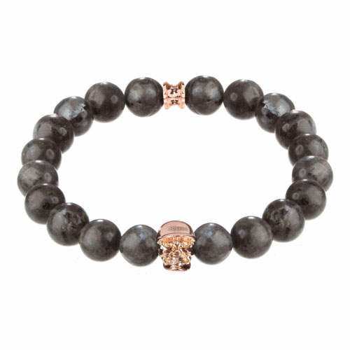 Jefferson Rose Gold Polished Skull / 10mm Grey Natural Black Larvikite Natural Stone Bracelet