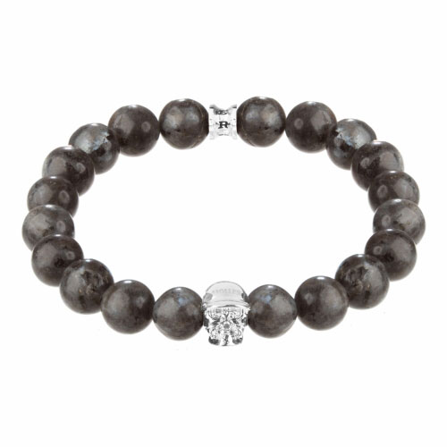 Jefferson Silver Polished Skull / 10mm Grey Natural Black Larvikite Natural Stone Bracelet
