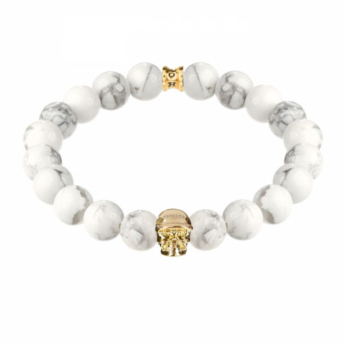 Jefferson Gold Polished Skull / 10mm Howlite Natural Stone Bracelet