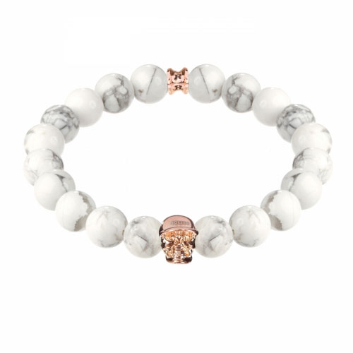 Jefferson Rose Gold Polished Skull / 10mm Howlite Natural Stone Bracelet