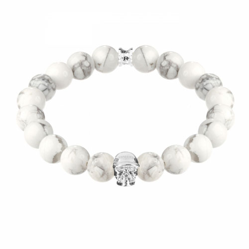 Jefferson Silver Polished Skull / 10mm Howlite Natural Stone Bracelet