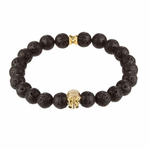 Holler Jefferson Gold Polished Skull / 10mm Lava Rock Natural Stone Bracelet