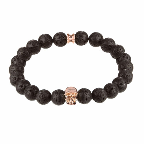 Holler Jefferson Rose Gold Polished Skull / 10mm Lava Rock Natural Stone Bracelet