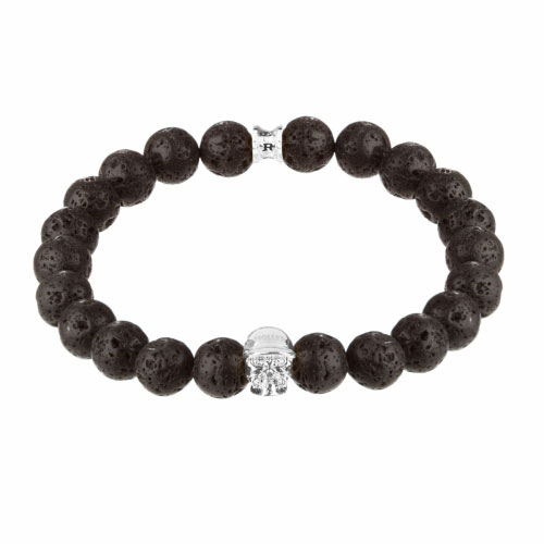 Holler Jefferson Silver Polished Skull / 10mm Lava Rock Natural Stone Bracelet